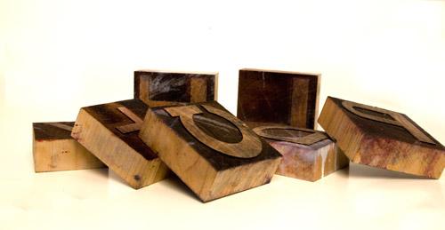 McDowell wood type, laser cut, letterpress