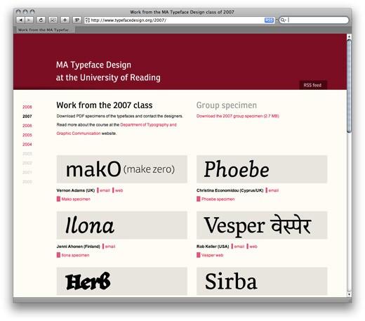 reading type design archive of type specimens