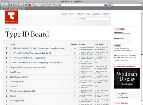 typophile type id board