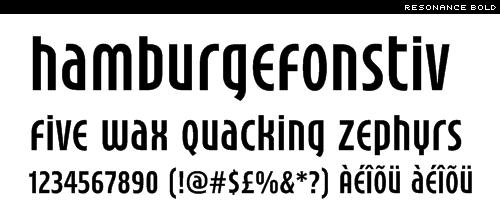 free font: resonance bold