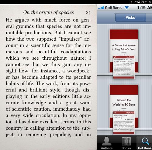 Eucalyptus e-bbok reader for iphone