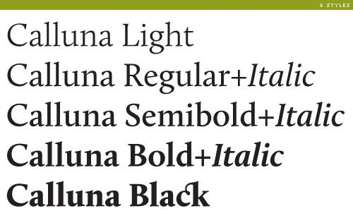 calluna weights and styles
