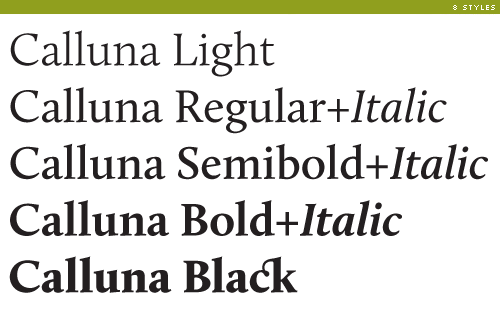 calluna weights and styles