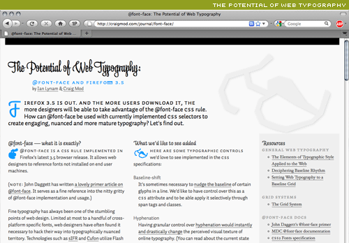 the potential web typography and @font-face