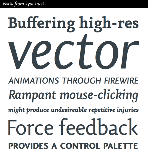 Vekta typeface families