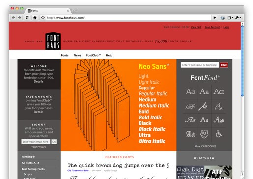 New site from Font Haus