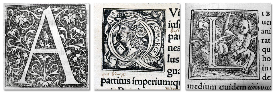Initials by the famous 16th century French printer Estienne, and his two Basle colleagues Froben & Oporinus.