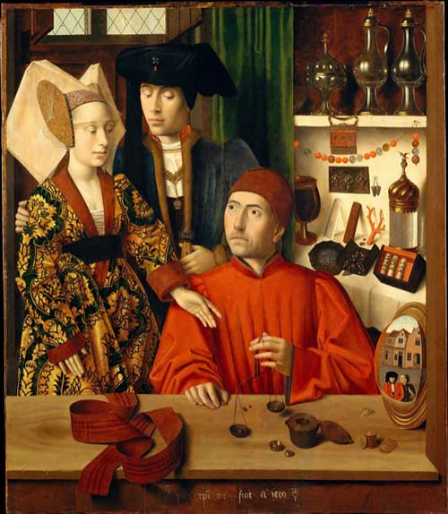 the goldsmith in his shop, 1449