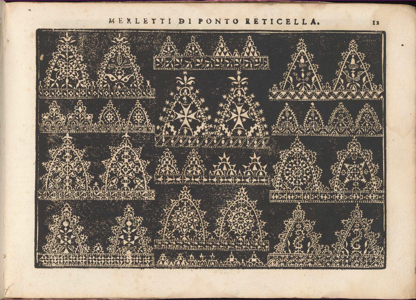 A page from Teatro delle Nobili et Virtuose Donne, 1616. Woodcut. Isabella Catanea Parasole