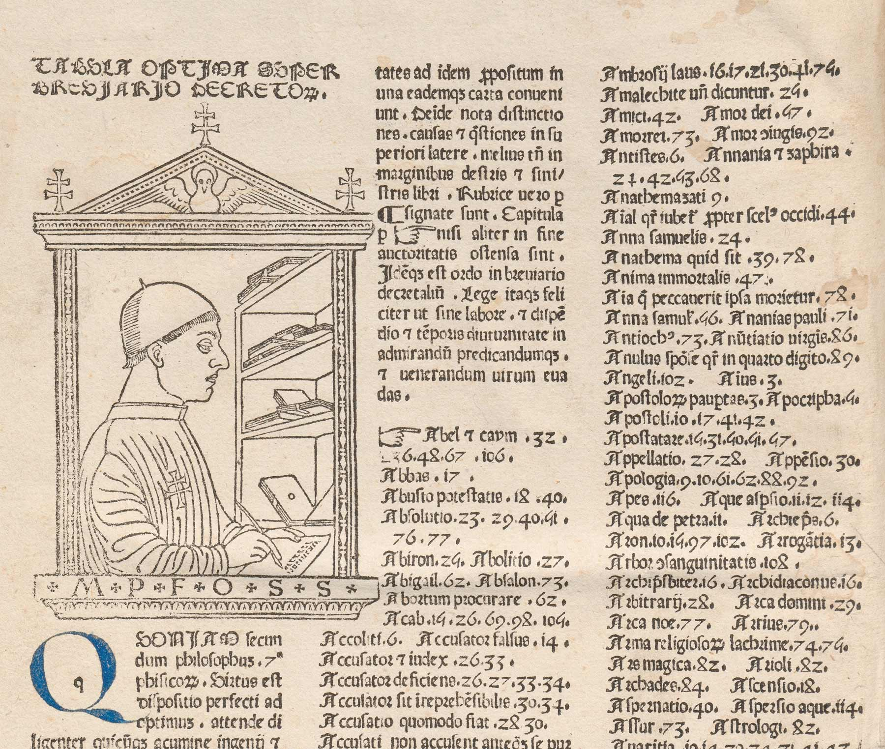 The opening page with the tabula or index and a woodcut of the author, Paolo Attavanti (the first to appear in a printed book)