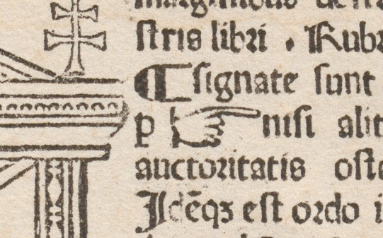 The first printed manicule. Milan, 1479.