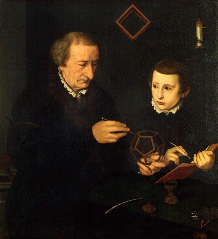 Johann Neudörffer the Elder with his son