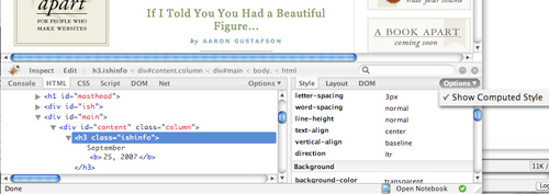 Firebug extension for tweaking web typography