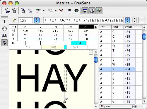 FontLab Pro Kerning Pairs
